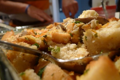 Homemade stuffing with sweet potatoes, mushrooms and lots of fresh herbs.