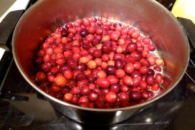 Fresh cranberries in a mix of orange juice, water and sugar. They start crackling as they cook.