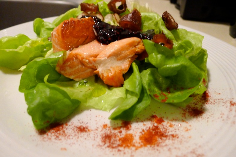 The final product I served mine on a bed of butter leaf lettuce. Nice with a creamy chardonnay or light pinot noir.