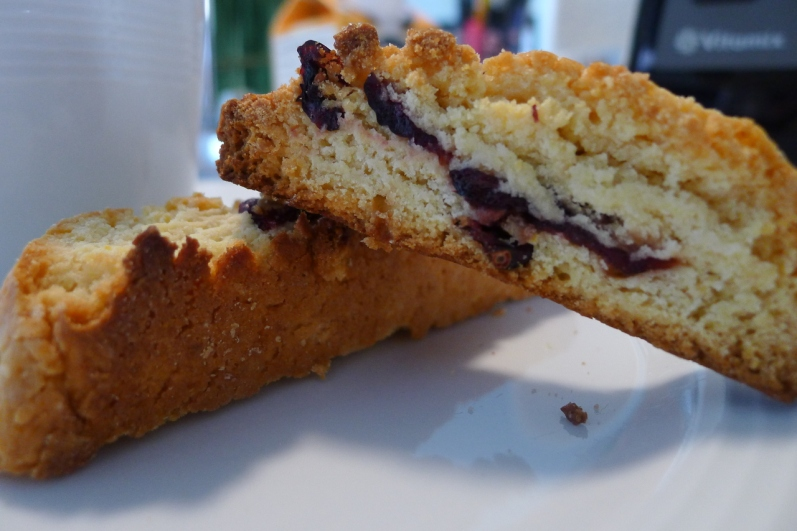 Finished Lemon-Cranberry Biscotti served with morning cofee.