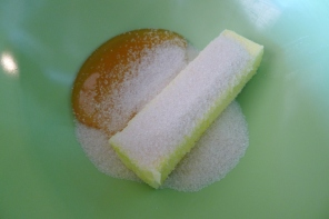 I used 1/2cup of organic cane sugar and about a 1/3 cup of local, organic honey for a sweet, but not-too-sweet taste.