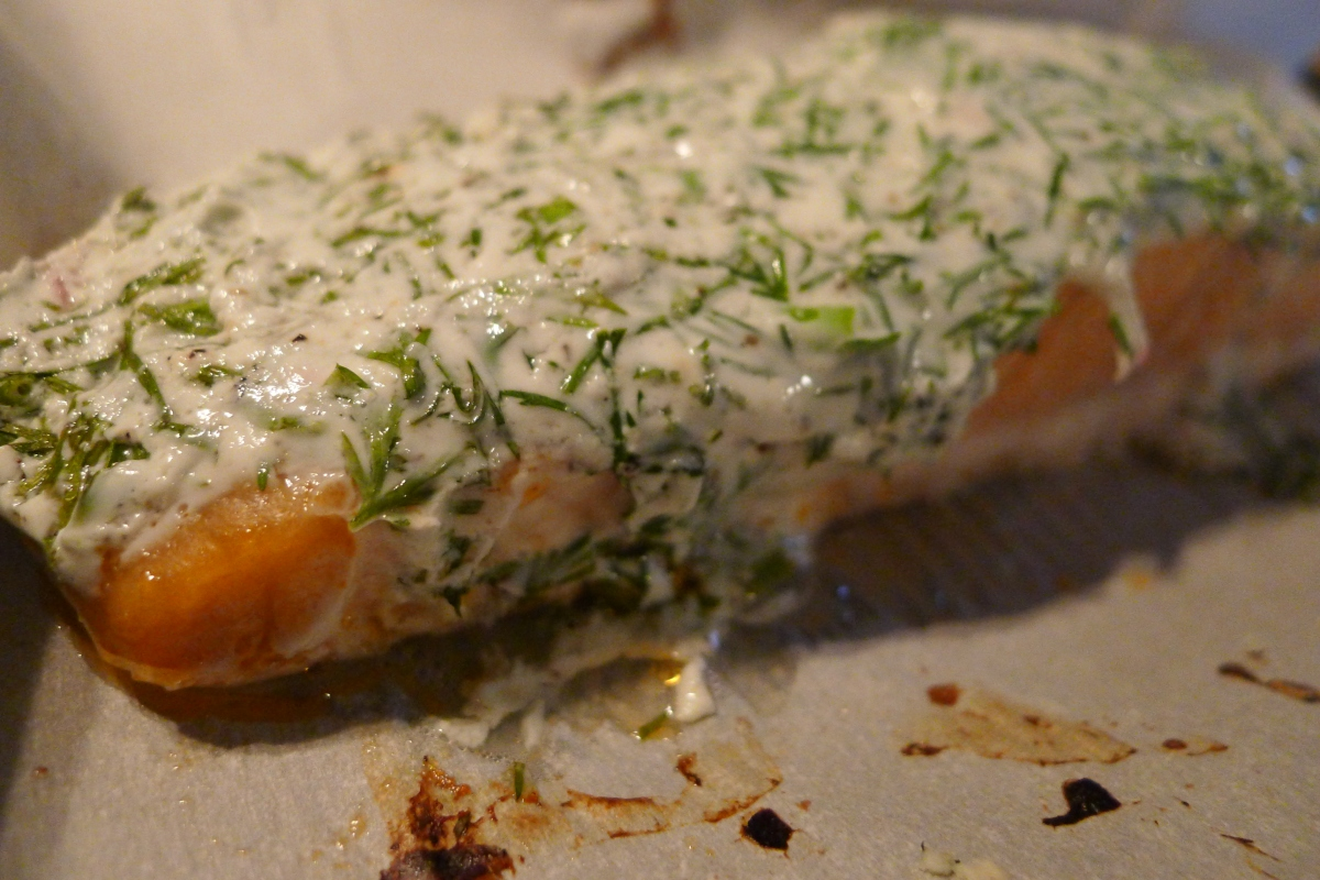 Salmon with Yogurt Dill Sauce and Mashed Cauliflower | Sounds Delish